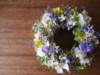 シックな紫陽花のリース 〜ホワイト&パープル〜の画像