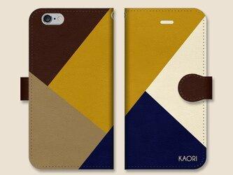 シンプルデザイン 名入れ♪ マスタード×ネイビー×ベージュ×ブラウン iPhone/スマホケースの画像