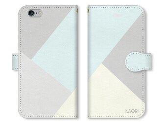 シンプルデザイン 名入れ♪フェミニン iPhone/スマホケース グレー×ミントブルーの画像
