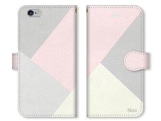 シンプルデザイン 名入れ♪フェミニン スマホケース グレー×ピンクの画像