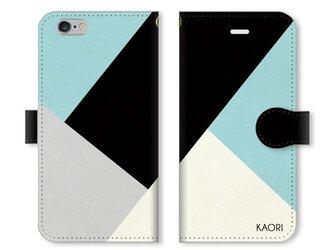 シンプルデザイン 名入れ♪ ブラック×ミントグリーン iPhone/スマホケースの画像