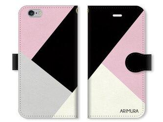 シンプルデザイン 名入れ♪スマホケース ブラック×ピンクの画像