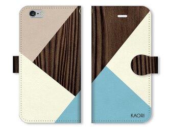 シンプルデザイン 名入れ♪ 木目調 ブラウン×ミントブルー iPhone/スマホケースの画像
