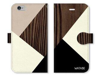 シンプルデザイン 名入れ♪木目調 ブラウン×ブラック iPhone/スマホケースの画像