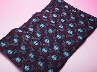 kta0008古布・古裂 藍染幾何学紋様色絣木綿 未使用☆の画像
