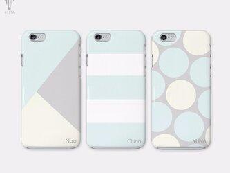 【名入れ♪送料無料】三角/ボーダー/ドット フェミニン グレー×ミント iPhone/スマホケースの画像