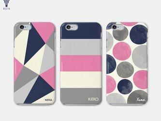 【名入れ♪送料無料】三角/ボーダー/ドット ネイビー×ピンク iPhone/スマホケース 文字入れ♪の画像