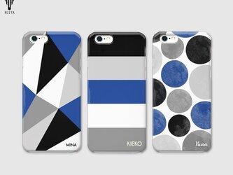 【名入れ♪送料無料】ブラック×ブルー 三角/ボーダー/ドット iPhone/スマホケースの画像