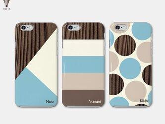 【名入れ♪送料無料】木目調 ブラウン×ミントブルー iPhone/スマホケースの画像