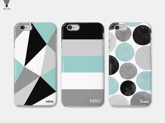 【名入れ♪送料無料】ブラック×ミントグリーン 三角/ボーダー/ドット iPhone/スマホケースの画像