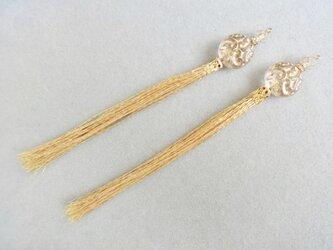 【SALE】チェコ製ヨーロピアンガラス×金糸ロングタッセルピアス(カット可能)の画像