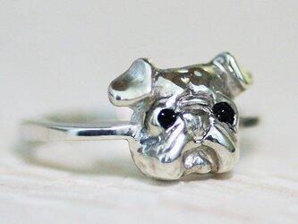小さいパグ顔リング【送料無料】たぷたぷ顔のパグを小さな指輪にしましたの画像