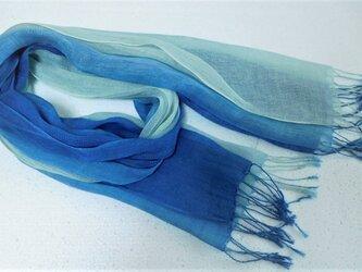 リネン(100%)ストール「紺瑠璃色ぼかし染め」の画像
