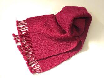 手織りオーガニックウールマフラー(ラズベリー)の画像