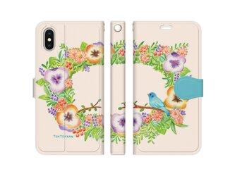 幸せの青い鳥リース iPhone手帳型ケースno.149の画像