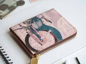 L字ファスナー 財布(レトロ バイク)オールレザー 革  メンズ レディース ILL-1157の画像
