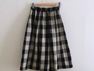 【ゆったりサイズ】ギンガムチェックのマキシスカートの画像