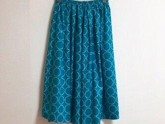 【ゆったりサイズ】まんまる柄のロングスカートの画像