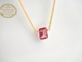 [11月の誕生石][14KGF]ピンクトパーズの一粒ネックレス WJG_N011の画像