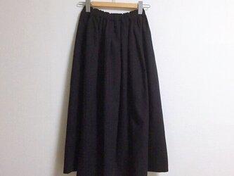 【ゆったりサイズ】cottonリネンのマキシスカート 【ブラック】の画像