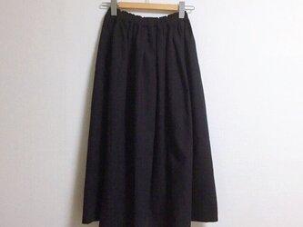 【ゆったりサイズ】cottonリネンのロングスカート【ブラック】の画像