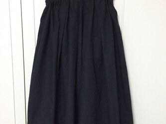 cottonリネンのギャザースカート 【ブラック】の画像