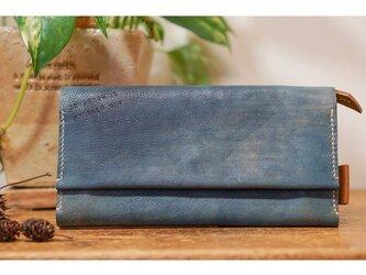 ☆柔らかな山羊革のたっぷり収納長財布ブルー☆チケットポケット付きの画像