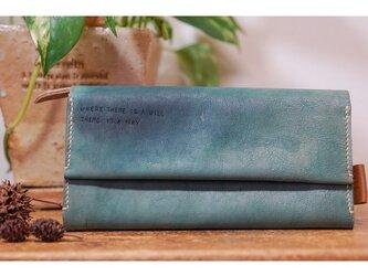 ☆柔らかな山羊革のたっぷり収納長財布グリーン☆チケットポケット付きの画像