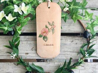 〜椿〜革しおりボタニカルアート風Camelliaの画像