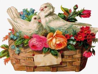 封筒付きグリーティングカード 白鳩と花かご DA-ADG002の画像