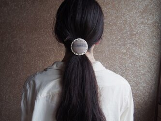 【S size】kimono fabric × silver beads ~ CIRCLE HAIR ELASTIC【受注生産】の画像