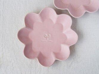 マカロンピンク・花の皿-L-の画像