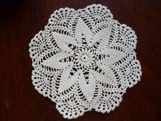 手編みレースドイリー直径約19cmの画像