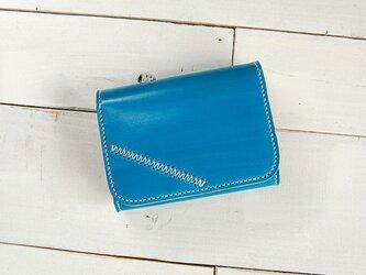 手染め本革Colorful財布・ハーフサイズ/空色の画像