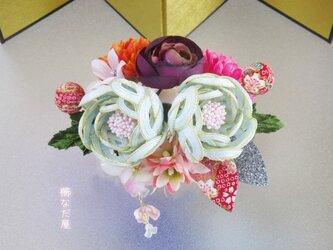 着物 髪飾り 水引 花 和装 成人式 七五三 ヘアアクセサリー 振袖 青系 結婚式の画像