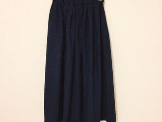 【ゆったりサイズ】cottonリネンのロングスカート【ダークネイビー】の画像