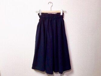cottonリネンのギャザースカート【ダークネイビー】の画像