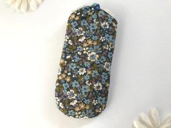 花柄メガネケース 青の画像