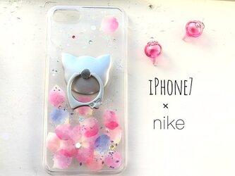 iPhone8plus/7plus/6plus/6splus〈猫花〉スマホケース スマホリング付き iPhoneケースの画像