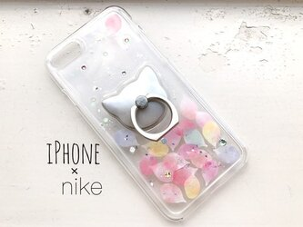 iPhoneX/iPhone8/7/6/6s〈花猫*花びら*カラフル〉スマホケース スマホリング付き iPhoneケースの画像