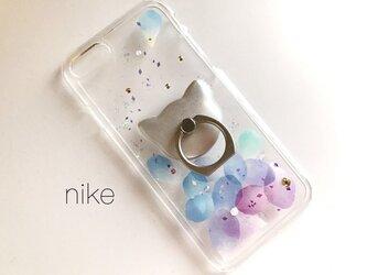 iPhoneX iPhone8/7/6/6s〈花猫*花びら*グラデーション〉スマホケース スマホリング付き iPhoneケースの画像
