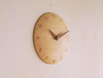 木製 掛け時計 丸 シナ材3の画像