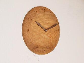 木製 掛け時計 丸 楢材23の画像