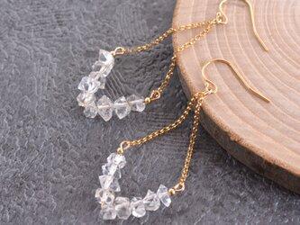 【14KGF】NY産ハーキマーダイヤモンドひし形ピアス or イヤリングの画像