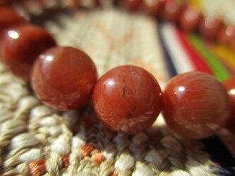 生命力を高めるお色「赤」水晶朱紅瑪瑙 8mm珠 数珠 ブレスレット 914の画像