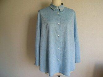 ボー付き綿ジャガード織のシャツブラウスの画像