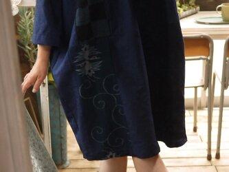 結城紬と古布色々チュニックの画像