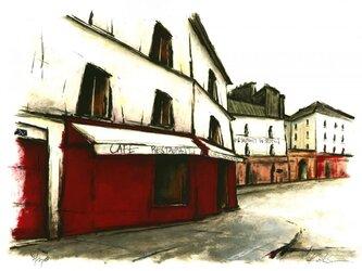 街の赤いレストランの画像