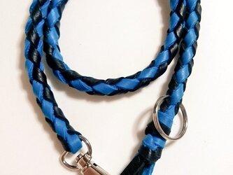 本革 ウォレットロープ (青×黒)の画像