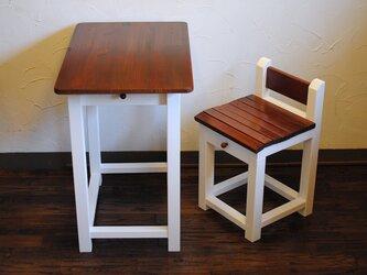 ●ミルクペイント&チーク色の机と引出し付き椅子セット●W70の画像